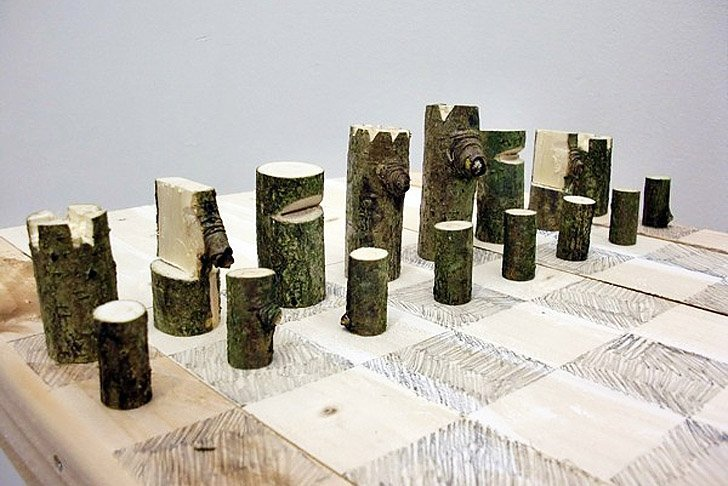 <p>Log Chess Set, Peter Marigold, 2012. Single branch, plywood, graphite. 62 x 62 x 2 cm</p><p>Unique piece from a series</p>